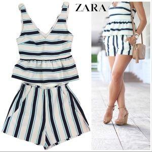 0cf2fc901a Zara Pants | Two Piece Striped Peplum Top Shorts Set M | Poshmark